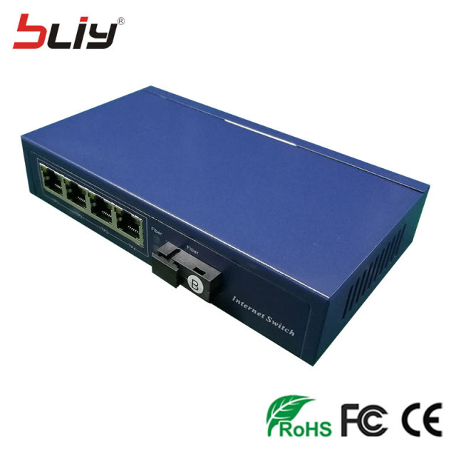 communicate equipment 10/100M 5 port single fiber single mode POE Fiber Media converter