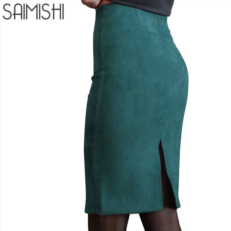 Super ofertas de las mujeres de la moda de gamuza de Color sólido lápiz Falda Mujer primavera otoño básicas de cintura Bodycon Partido de la longitud de la rodilla faldas