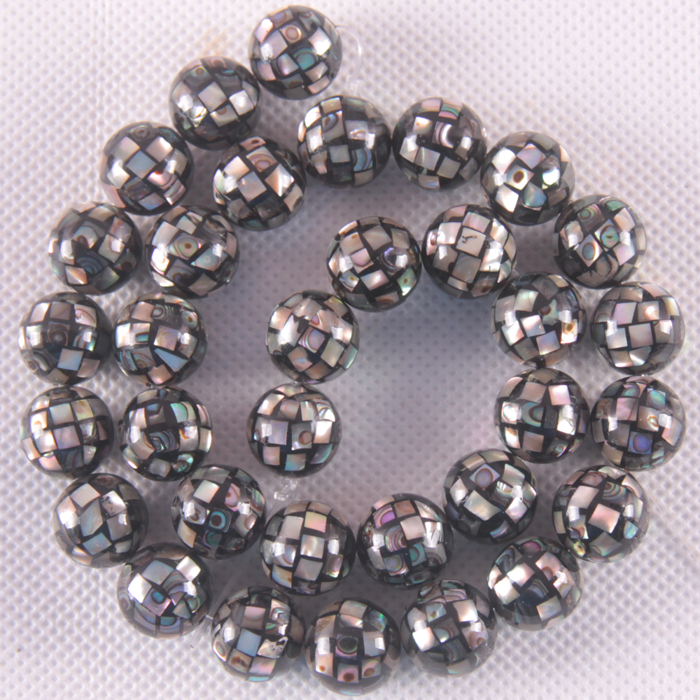 Natural 12MM Blue New Zealand Abalone Shell Round Loose Beads Free Shipping String 15.8O121