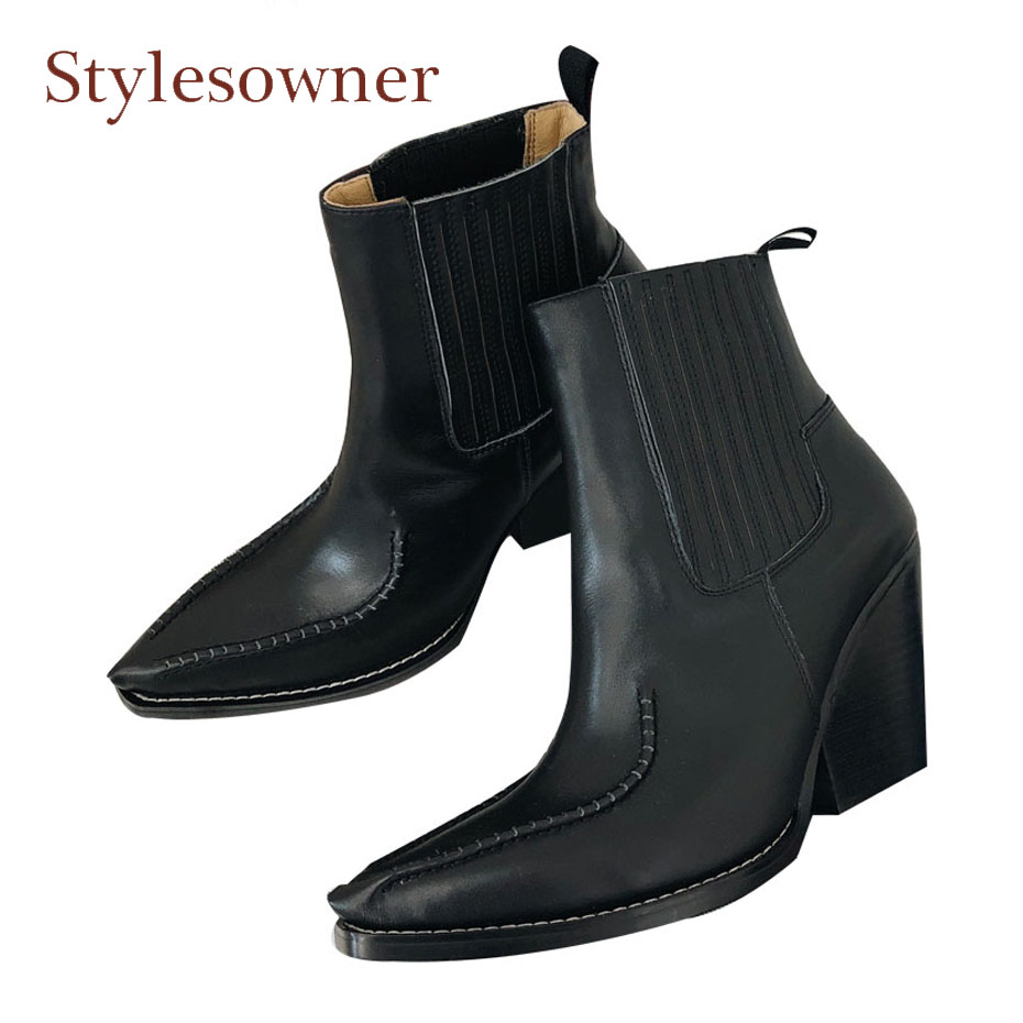Stylesowner 2018 new style black genuine leather pointed toe chelsea boots women slip on chunky high heel ankle boots for women недорого