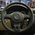 Hand-stitched Black Leather Steering Wheel Cover for Volkswagen Golf 6 Mk6 VW Polo Sagitar Bora Santana Jetta Mk6