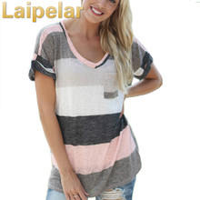 Fashion Short Sleeve O-Neck T-Shirt Women Tops Tee Shirt Femme Pocket Striped Plus Size Clothes 2018 Laipelar Shirts