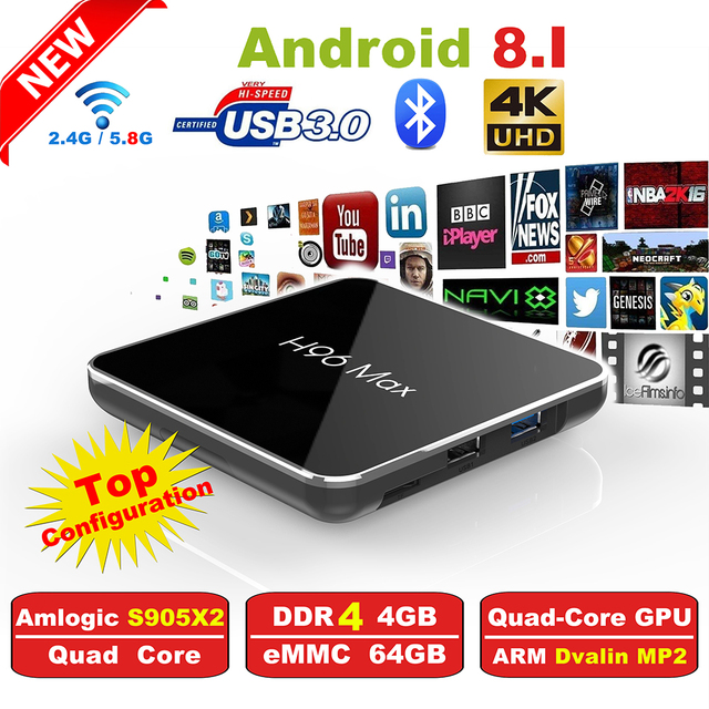 H96 Max2 Smart TV Box Amlogic S905X2 Quad Core ARM Cortex A53 2GHz DDR4 4G/64G Android 8.1 2.4G/5.8GHz Wifi Family Set Top Box