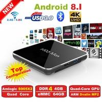 H96 Max2 Smart TV Box Amlogic S905X2 Quad Core ARM Cortex A53 2GHz DDR4 4G/64G Android 8.1 2.4G/5.8GHz Wifi Family Set Top Box
