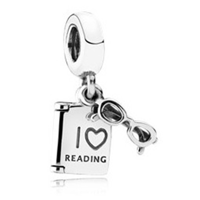 Real 925 Sterling Silver Pendant Bead Glass And Book Hanging Charm
