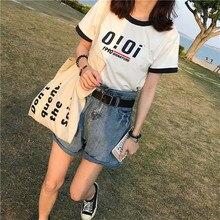 Женская Повседневная рубашка Tumblr, модная рубашка с буквенным принтом, короткая, летняя, 2020Футболки    АлиЭкспресс