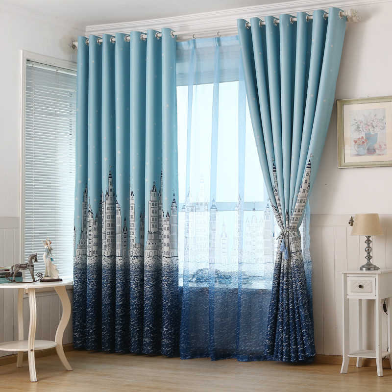 Cartoon Curtain Castle for Living Room Window Bedroom Kids Boys Room Sky  Blue Curtains Print Voile Sheer Fabrics T&230 #30