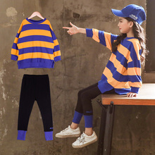 2019 2pcs Girls Clothes Sets Baby Girls Long Sleeve Striped Shirts Tops + Pants Suits Kids Clothing Sets Children's Clothes Sale