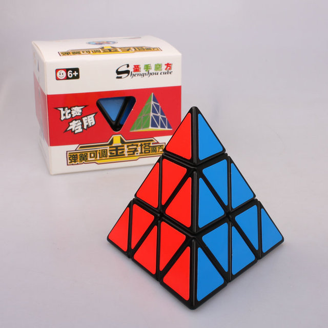 Shengshou Cubo 3 x 3 x 3 Pyraminx Cubo mágico Puzzle Blocks velocidad cubos mágicos de aprendizaje y juguetes educativos Cubo de juguete para los niños