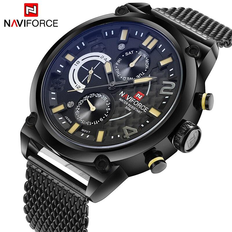 2017 naviforce hombres de marca de lujo analógico cuarzo 24 hora relojes hombre 3atm impermeable reloj hombres deporte de acero completo reloj