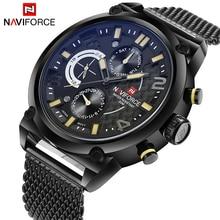 2019 Naviforce Luxe Merk Heren Analoge Quartz 24 Uur Datum Horloges Man 3ATM Waterdicht Klok Mannen Sport Volledige Steel polshorloge