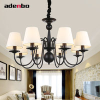 Modern Pastoral Black Iron Chandelier LED Chandeliers Lighting Fixture With Fabric Lampshade For Indoor Room Decoration