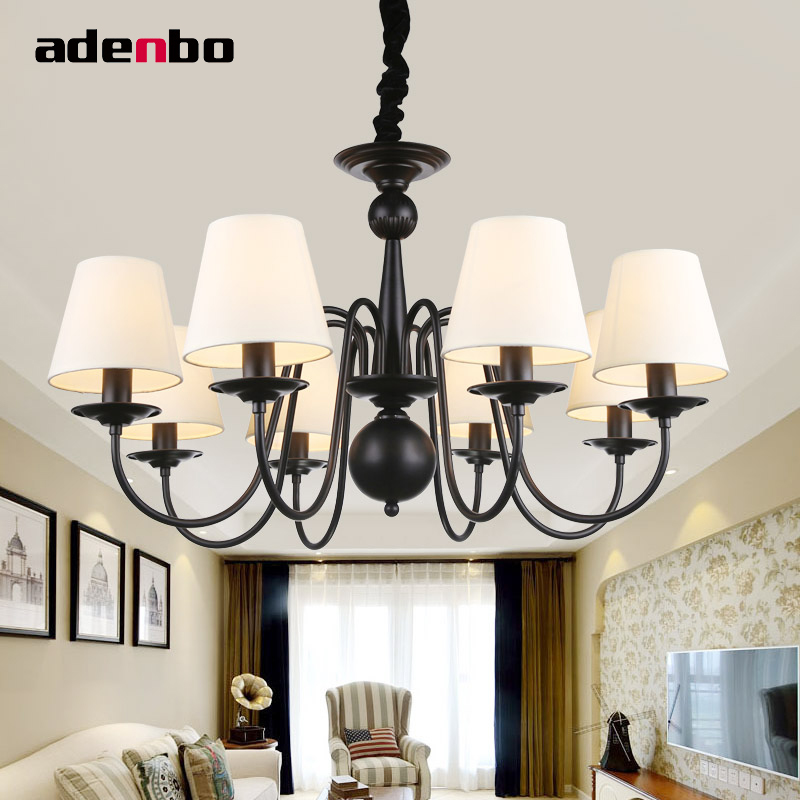 American Style Pastoral Vintage LED Chandeliers Lighting Fixture Black Wrought Iron Chandelier With Fabric Lampshade женская футболка fashion 2015 harajuku o t tshirt camisetas lgcs