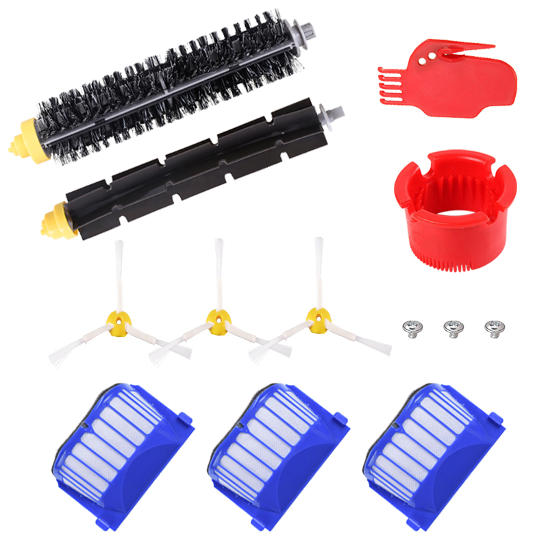 AeroVac Filter Side Brush Bristle Beater Brush for iRobot Roomba 600 610 625 630 650 660 Robot Vacuum Cleaner Parts Accessories image