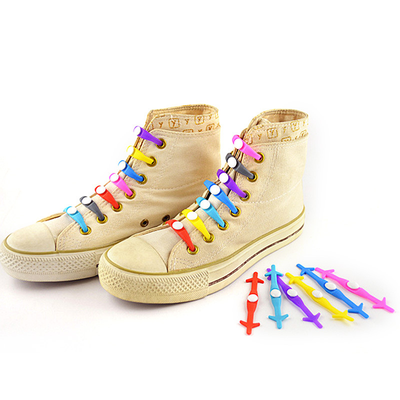 12pcs/lot Creative Shoelace Unisex Women Men Athletic Running No Tie Shoelaces Elastic Silicone Shoe Lace 30pcs lot fashion unisex women men athletic running lazy no tie silica gel shoe laces rainbow color luminous shoelace