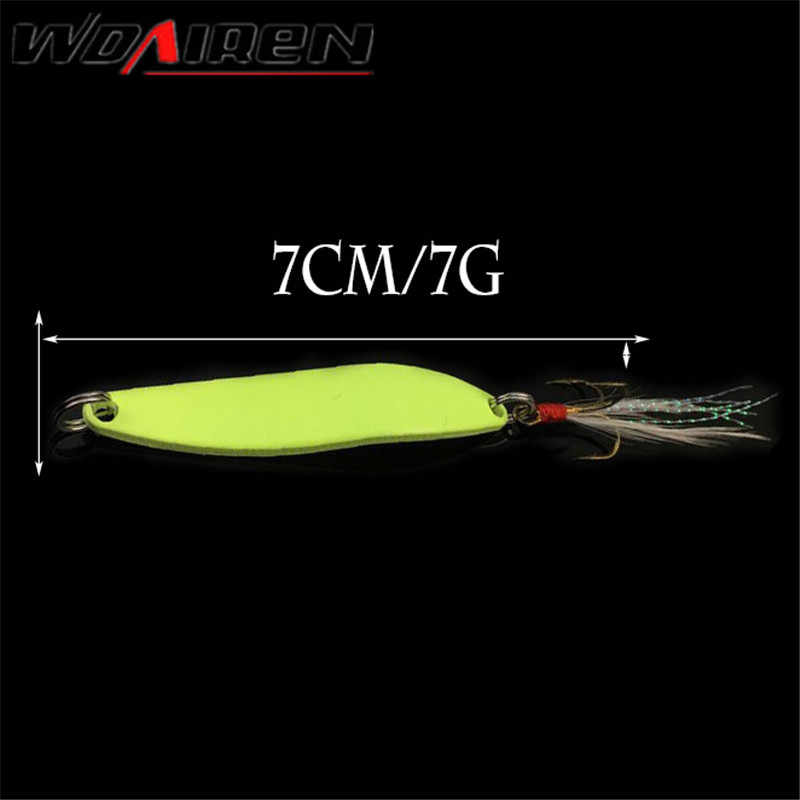 1 chiếc Kim Loại Kim Sa Lấp Lánh Mồi Câu Cá Thìa Dụ Cứng Mồi Với Lông Móc Treble Dạ Quang Ban Đêm mồi Pesca Câu cá WD-457
