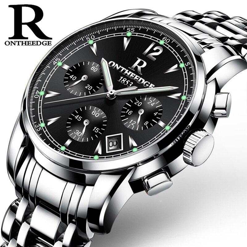 ONTHEEDGE Mens Watches Luxury Brand Fashion Business Quartz Watch Men Sport Stainless Steel Waterproof Wristwatch Clock цена