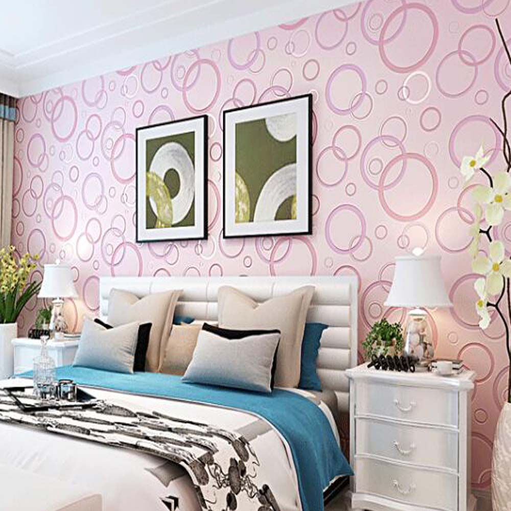 Pvc Wallpaper Waterproof Circle Pattern Wallcovering For Living Room Bedroom Tv Backsplash Wall Decor Blue Pink