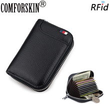 COMFORSKIN Premium 100% Cowhide Leather RFID Protection Card Wallet New Arrivals Large Capacity Business Holders Case