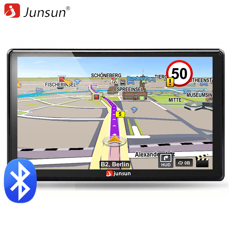 Junsun 7 inch HD Car GPS Navigation FM Bluetooth AVIN Map Free Upgrade Navitel Europe Sat nav Truck gps navigators automobile gps навигатор lexand sa5 hd