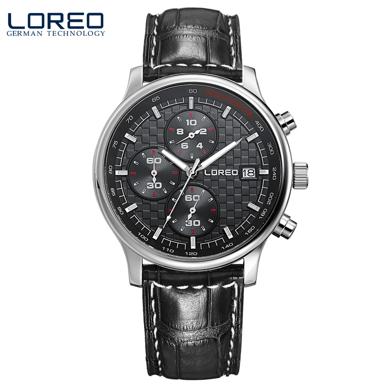 ФОТО LOREO quartz sapphire water resistant 5ATM black Leather belt luminous Calendar Chronograph