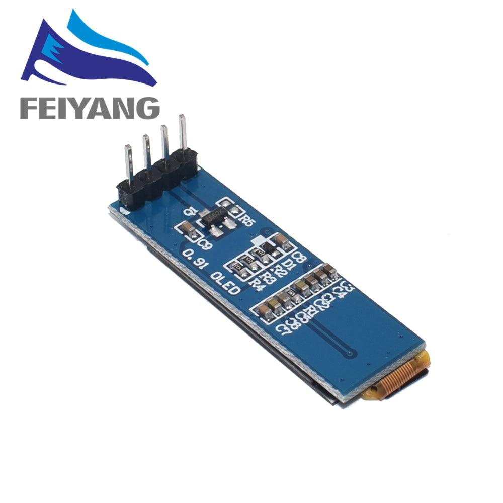 "Image 2 - 10 قطعة 0.91 بوصة OLED وحدة 0.91 ""الأبيض/الأزرق OLED 128X32 OLED شاشة LCD LED وحدة 0.91"" IIC التواصل-في وحدات LCD من المكونات واللوازم الإلكترونية على AliExpress"