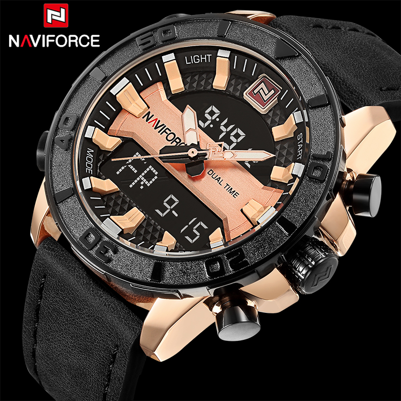 NAVIFORCE Luxury Brand Men Fashion Sport Watches Men's Quartz Date Clock Man Leather Army Military Wrist watch Relogio Masculino army military men sport watch relogio masculino valia brand leather waterproof date day hours quartz clock mens watches