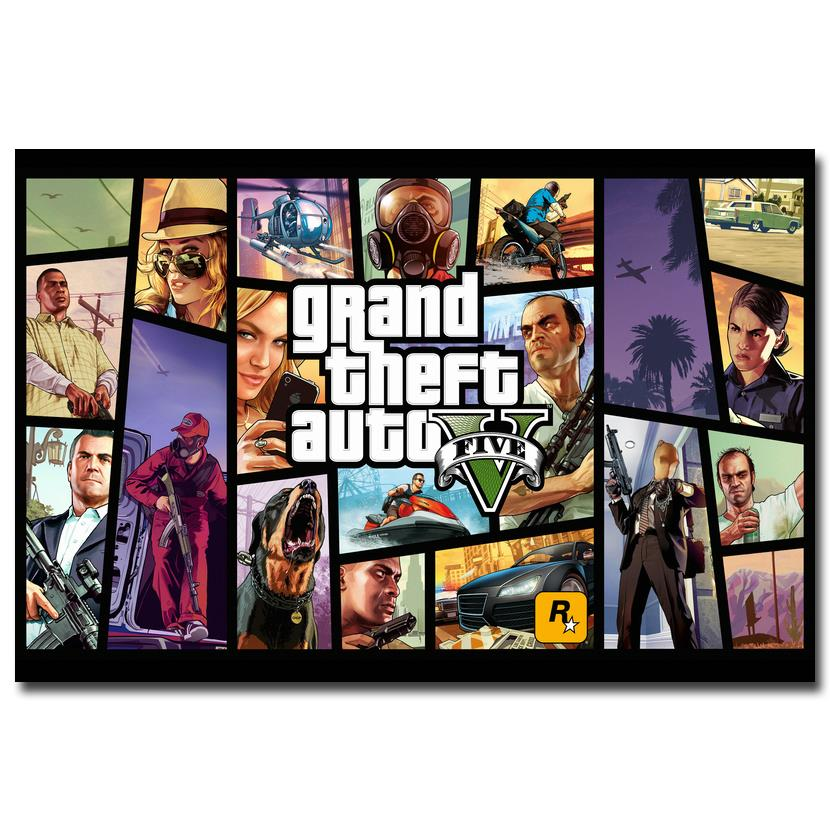 NICOLESHENTING Grand Theft Auto V Art Silk Poster Print 13x24 24x43 inches GTA 5 Game Pictures For Living Room 0043