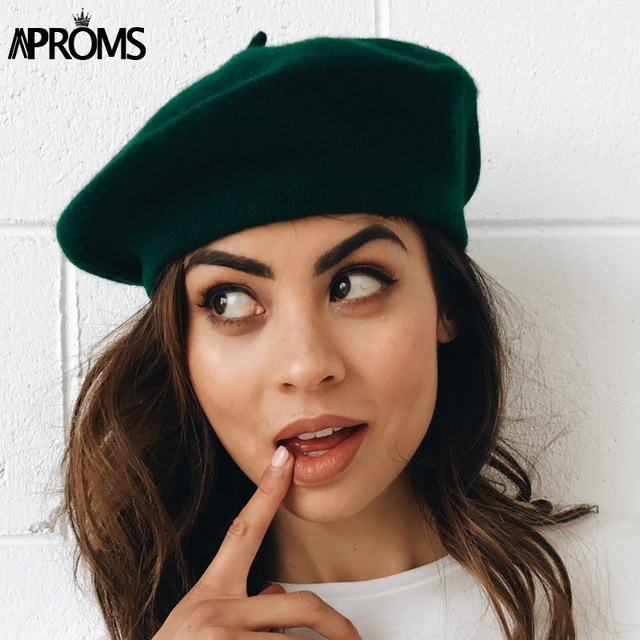 Aproms 2018 Summer Wool Women Beret Hat Casual Streetwear 90s Girls Beret  Cap Elegant Female French Beret Caps 60f33081228