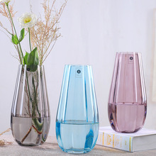 Europe Multicolor glass vase gray stripe transparent vases Tabletop  flower pot Hydroponics containers home decoration