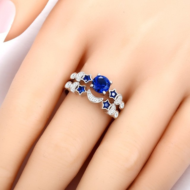 Blue Rhinestone Ring Set Silver Fashion Jewelry Womens Accessories Star Moon Wedding Rings Pair With Engagement