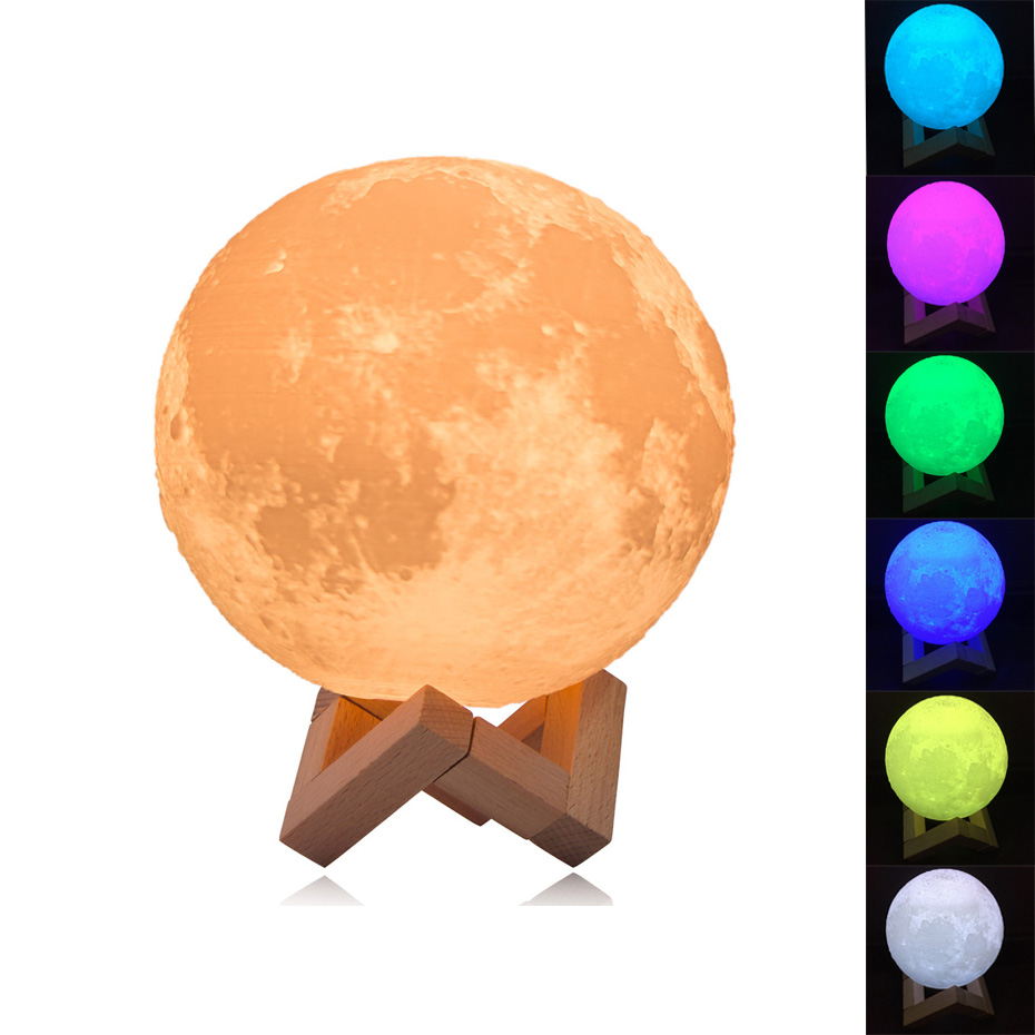 Rechargeable Night Light 3D Print Moon Lamp 9 Color Change Touch Switch Bedroom Bookcase Nightlight Home