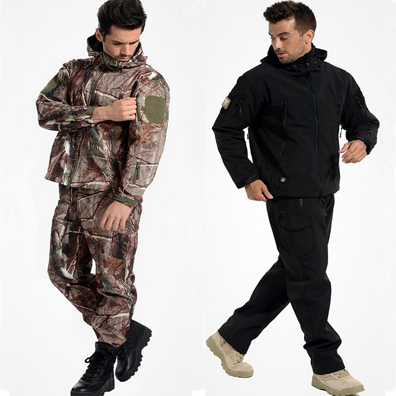 Outdoor Lightweight Soft Shell Jacket With Pants Army TAD Shark Skin Soft Shell Jacket+Pants Winter Waterproof Clothing Uniform lurker shark skin soft shell v4 military tactical jacket men waterproof windproof warm coat camouflage hooded camo army clothing