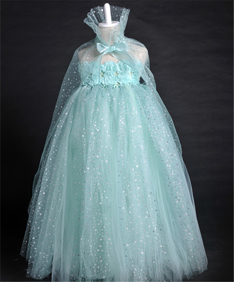 Sparkling Elsa Dress Snow Queen Cosplay Elsa Costume Christmas Halloween Tulle Dresses Princess Girl Party Tutu Dress Vestidos elsa dress sparkling snow queen elsa princess girl party tutu dress cosplay anna elsa costume flower baby girls birthday dresses