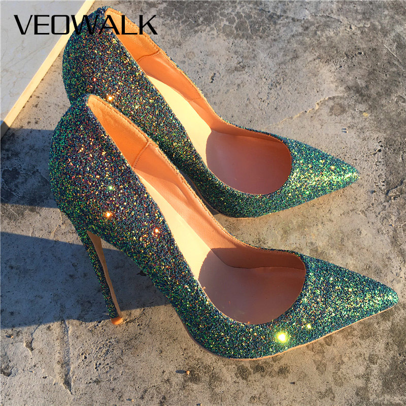 Veowalk Shiny Sequins Women Sexy Super High Heels Ladies Pointed Toe Fashion Stilettos Pumps Italian Slip On Wedding Dress Shoes