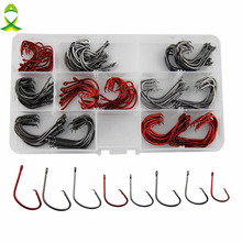 JSM 160pcs 7381 High Carbon Steel Fishing Hooks Red Black Octopus Offset Sport Circle Bait Fishing Hook Set fishing tackle Box