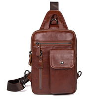 Men Vintage Chest Bags Cow Leather Travel Casual Business Book Ipad Phone Daily Chest Bag Handbags Fashion Small Cute Brown Bag