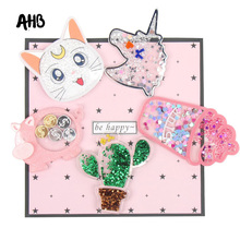 AHB Cactus Unicorn Sequin Filling Acrylic Fashion Liquid Quicksand Cover For Phone DIY Ice Cream Patch Cases
