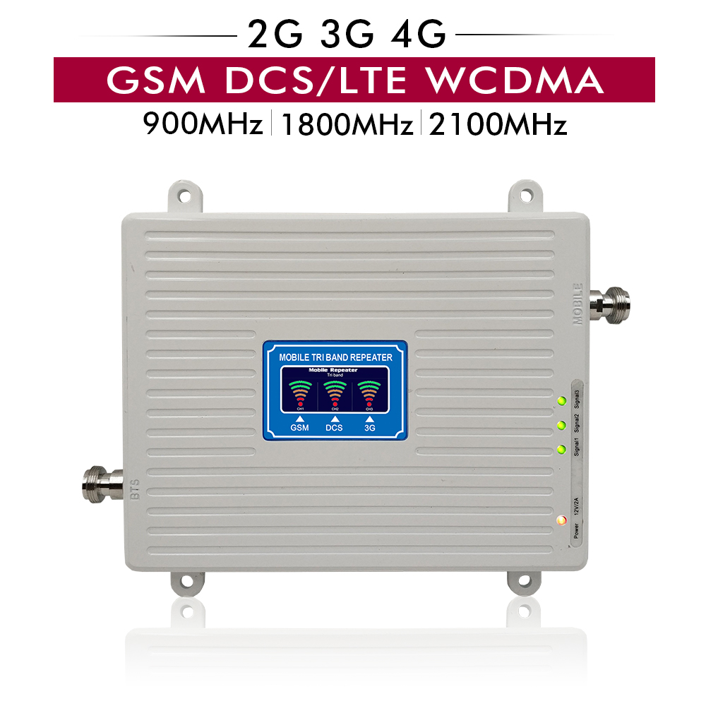 2G 3G 4G Tri Band Signal Booster GSM 900 LTE DCS 1800 WCDMA 2100 Cell Phone Repeater Repetidor 900 1800 2100 Cellular Amplifier