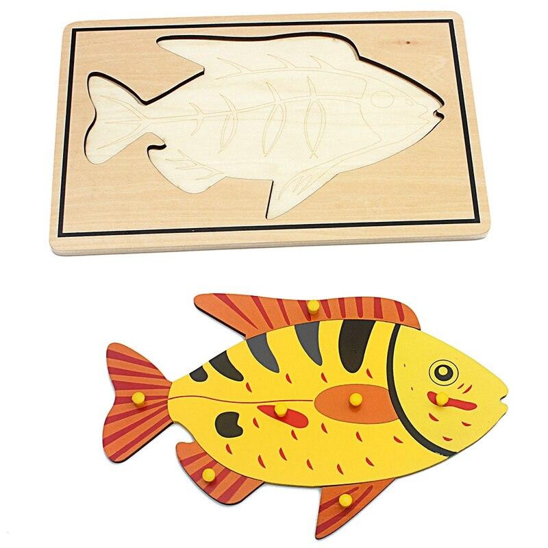 Brinquedo do bebê Crianças Montessori Painel Peixe Animal Puzzle Brinquedos para Crianças De Madeira Da Primeira Infância Educação Escolar de Aprendizagem Formação