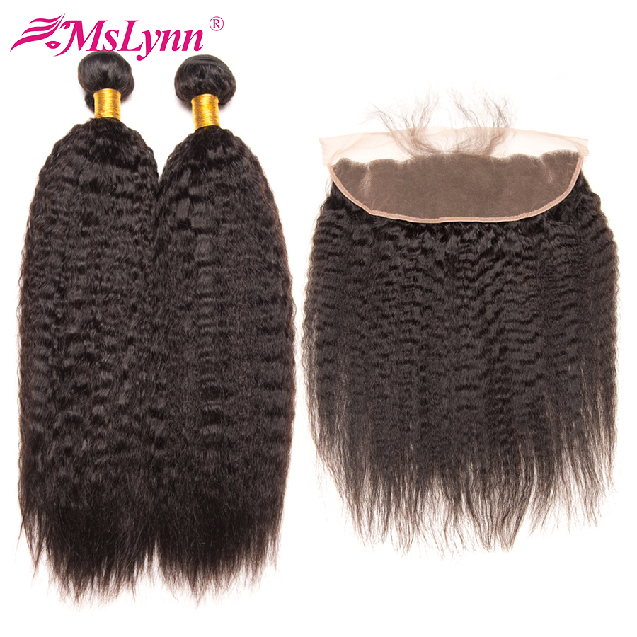 Mslynn Brazilian Kinky Straight Hair Weave Bundles Lace Frontal Closure With Bundles Human Hair Bundles With
