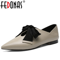 FEDONAS Elegant Women New Genuine Leather Shoes Woman Flats Heels Butterfly Knot Sweet Comfort Pointed Toe Spring Autumn Shoes