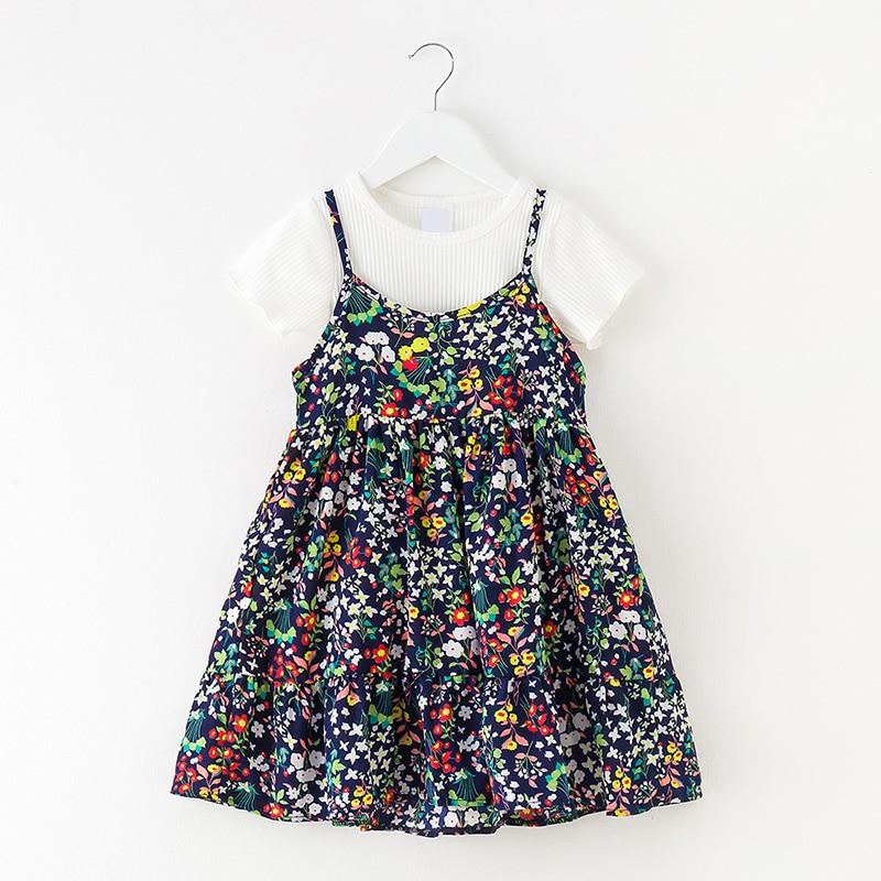 Conjuntos de vestido de verão menina t camisa + vestido com alças de ombro meninas conjunto de roupas flor estampado 3-5-12 anos vestidos de praia