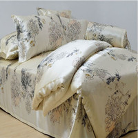 100 Mulberry Silk 16 Mm 4 Pieces Export Bedding Sets K Q Size Light Printed Beige