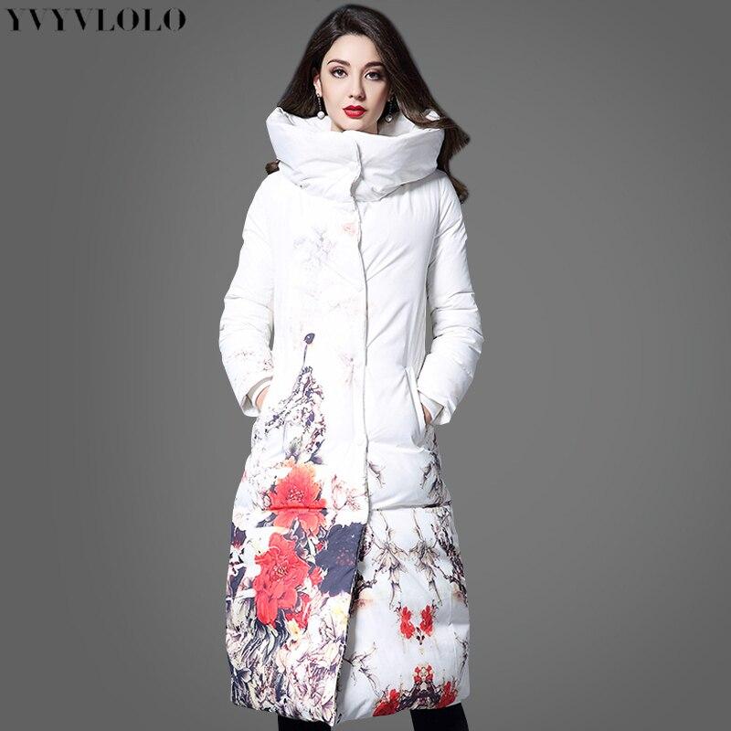 2019 International brand Flower printing women winter jacket Long slim women Parka Coat White high collar