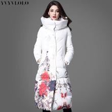 Chaqueta de invierno para mujer con estampado de flores de marca  internacional 2018 Chaqueta larga ajustada para mujer Parka abr. ff6960fac1a4
