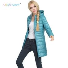 Colorful Apparel Female Warm Winter long Jacket Women Coat Thin Brand 90% White Duck Down Parka Ultra-light Down CA522