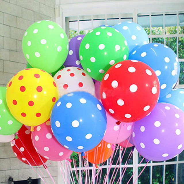 12 Retro Polka Dot Latex Helium Party Birthday Wedding Balloons