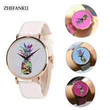 Color Changing Casual Watch Women's Pineapple Fruit Wristwatch Vintage Lady Leather Clock Reloj Mujer Saat Creative Quartz Watch