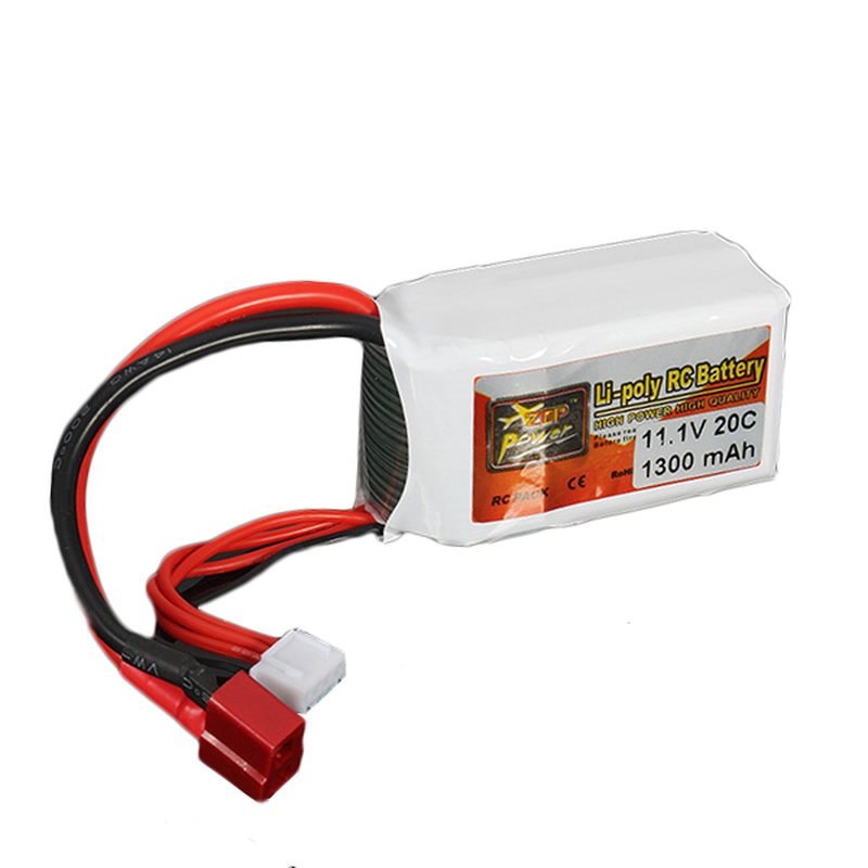 2PCS ZOP Power 11.1V 1300MAH 20C 2S Lipo Battery T Plug for RC Quadcopter Helicopter Drone image
